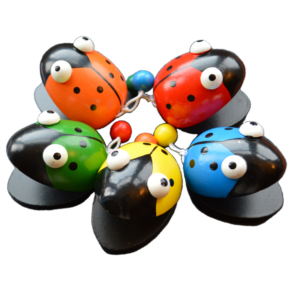 Very easy to play with a good quality sound, these brightly coloured wooden ladybird castanets come in red, blue, green, yellow or orange. Length: 7cm £2.50 each