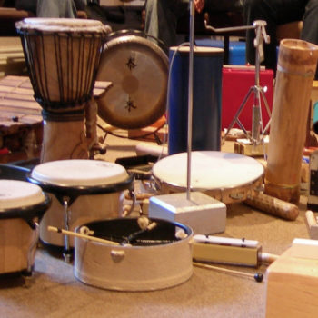 Collection of drums and percussion